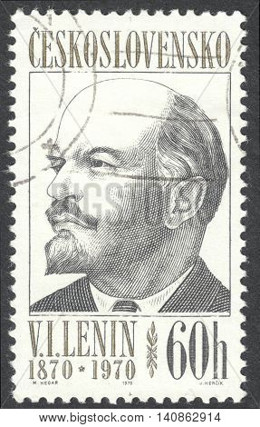 MOSCOW RUSSIA - CIRCA APRIL 2016: a post stamp printed in CZECHOSLOVAKIA shows a portrait of Lenin the series