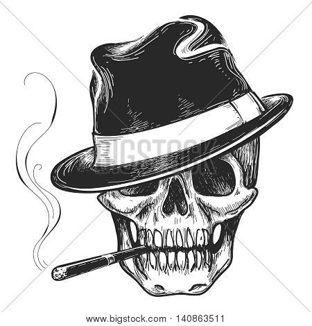 Gangster skull tattoo. Death head with cigar and hat vector illustration