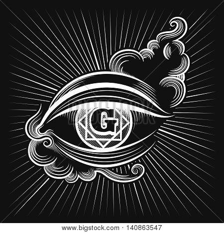 Egypt god eye or spiritual eye vector