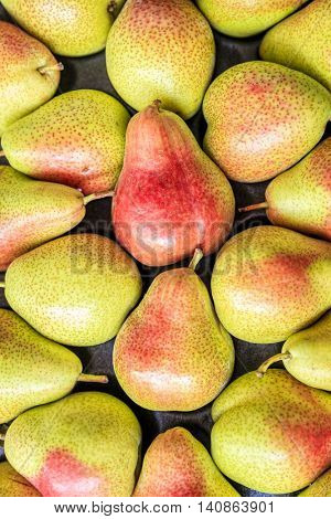 Fresh pears at the fruit and vegetable market in Dubai, UAE