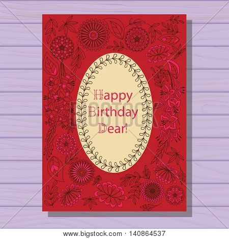 Vector red happy birthday dear card on wooden background