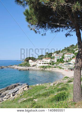 View to Beach and Village of Seccheto on Elba Island,mediterranean Sea,Tuscany,Italy