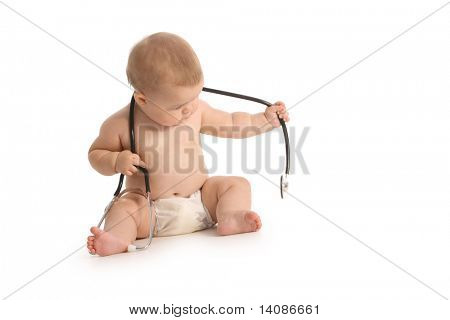 Baby with stethoscope on white background