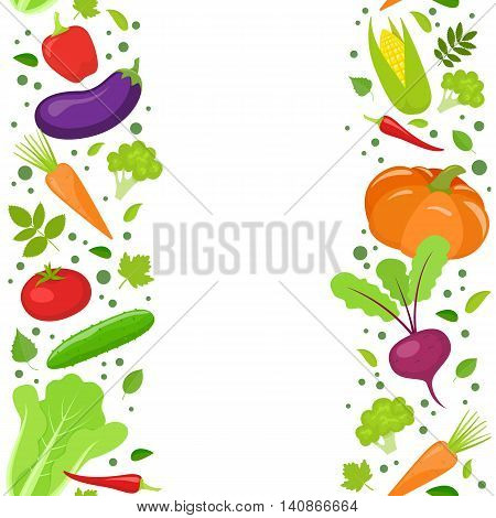 Vertical seamless borders of colorful vegetables. Vector stock illustration.