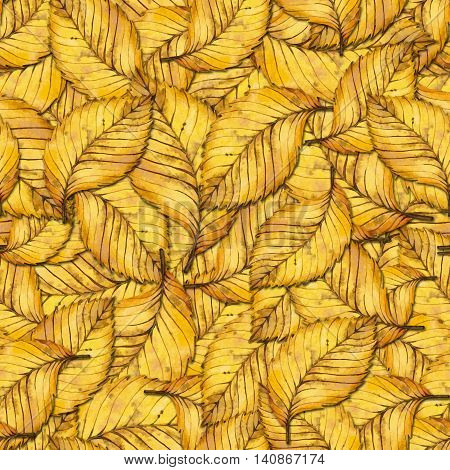 Seamless pattern with autumn yellow leaves of elm hand painted watercolor illustration for fabric textile wrapping paper card invitation wallpaper web design.