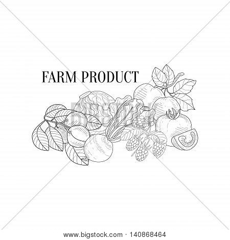 Farm Products Still Life Hand Drawn Realistic Detailed Sketch In Classy Simple Pencil Style On White Background