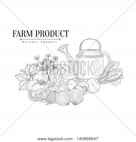 Fresh Farm Food And Watering Can Hand Drawn Realistic Detailed Sketch In Classy Simple Pencil Style On White Background