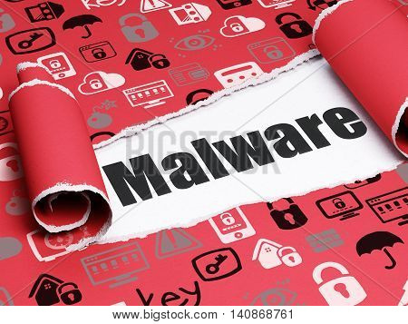 Safety concept: black text Malware under the curled piece of Red torn paper with  Hand Drawn Security Icons, 3D rendering