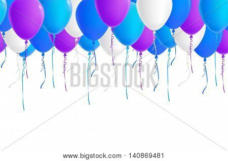 Vector seamless border of realistic colorful balloons (blue sky blue white purple). Isolated from background. File contains clipping mask and gradient mesh.