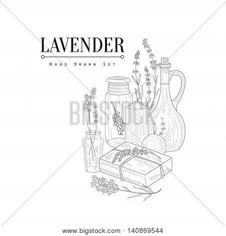 Lavender Natural Cosmetics Hand Drawn Realistic Detailed Sketch In Classy Simple Pencil Style On White Background