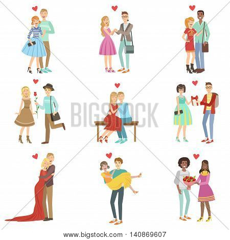 Adult Couples In Love Bright Color Cartoon Simple Style Flat Vector Set Of Stickers Isolated On White Background