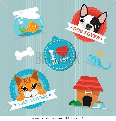 Cat and dog pet animals and objects vector illustration