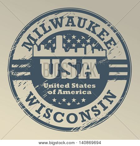 Grunge rubber stamp with name of Wisconsin, Milwaukee, vector illustration