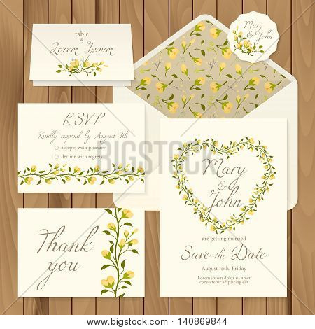 Vector set of vintage floral wedding invitation templates - card response, save the date, thank you, table number, label and envelope (pattern completely under the mask).