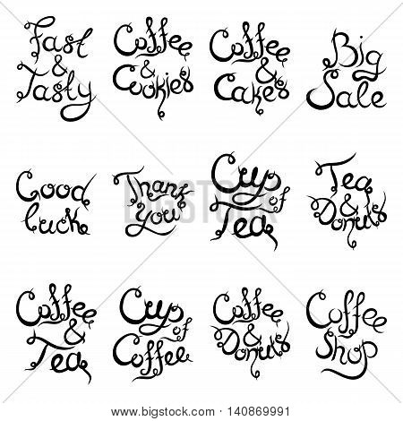 Set 2 of curly hand-drawn lettering Phrases for Coffee Shop. Espresso Cappuccino Cakes Donuts Macarons Cookies Biscuits Latte Macchiatto Cup of Coffee Enjoy Desserts. Vector illustration.