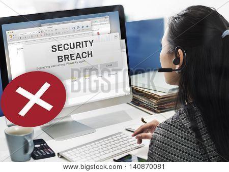 Security Breach Cyber Attack Computer Crime Password Concept