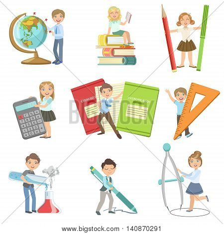 Kids With Giant School Attributes Set Of Simple Design Illustrations In Cute Fun Cartoon Style Isolated On White Background