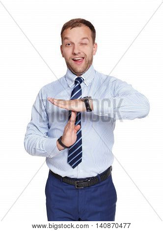 Business manager or businessman showing timeout gesture smiling isolated on white