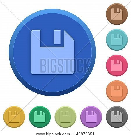 Set of round color embossed save buttons