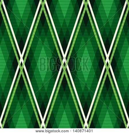 Rhombic Seamless Fabric Pattern Mainly In Emerald Hues