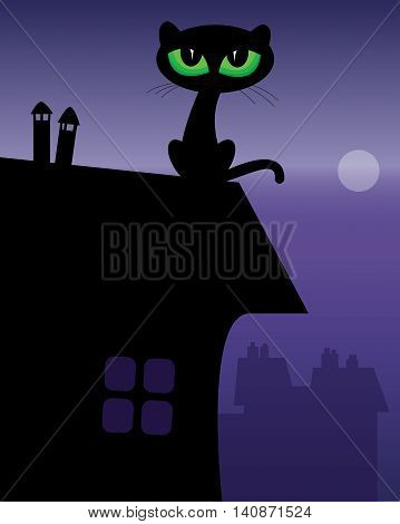 Black Cat on roof in night, vector illustration