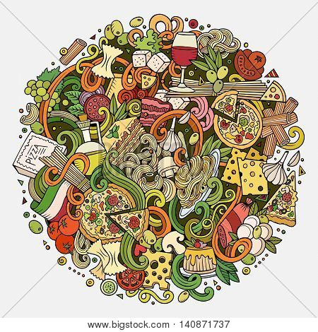 Cartoon cute doodles hand drawn italian food illustration. Colorful detailed, with lots of objects background. Funny vector artwork. Bright picture with Italy cuisine theme items. Square composition