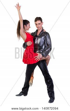 Latino dancers posing, isolated on white in full length