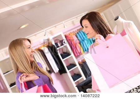 Two young women shopping together