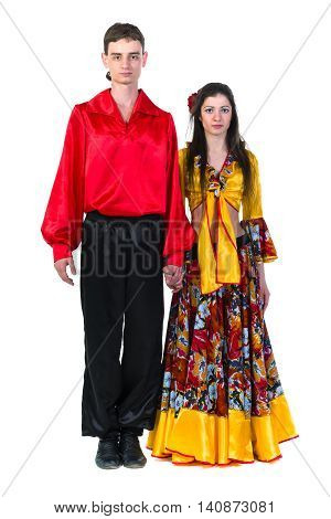 Gypsy flamenco dancer couple, isolated on white in full length