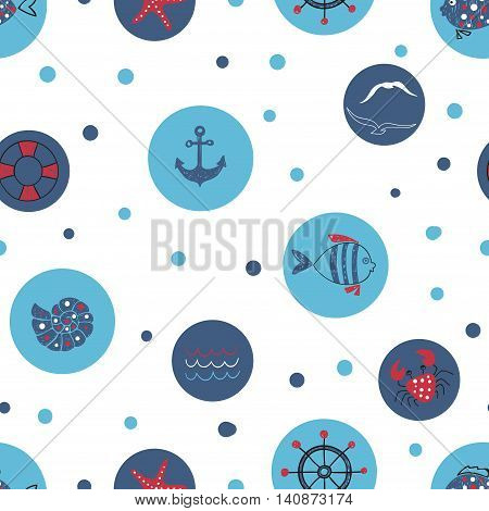 Blue circles vector background. Sea seamless pattern. Marine theme. Wallpaper with doodle fish, shell, crab, anchor.