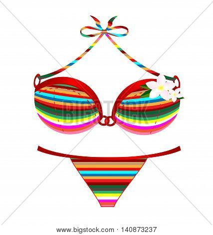 white background and the many colored swimsuit with flower