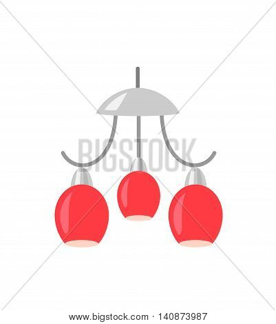 Red Chandelier isolated on white background. Hanging lamp vector illustration.