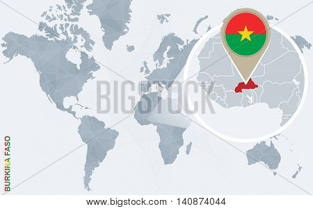 Abstract Blue World Map With Magnified Burkina Faso.
