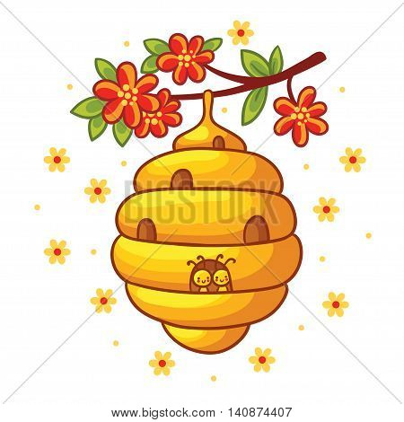 Beehive weighs on a branch with flowers. Vector illustration in cartoon style. Childrens picture with the bees.