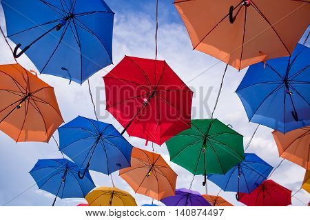 Installation from multicolored umbrellas in the park of the city of Astana Kazakhstan.