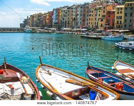 Close up of traditional boats in harbor at Porto Venere, Cinque Terre National Park, Unesco Heritage.
