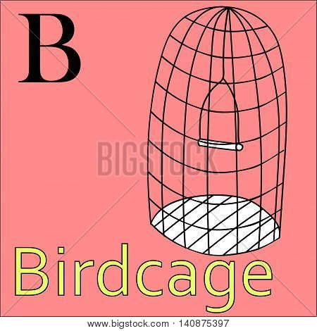 B letter of the alphabet. Developmental exercises for children, coloring books. Vector Illustration Graphics birdcage
