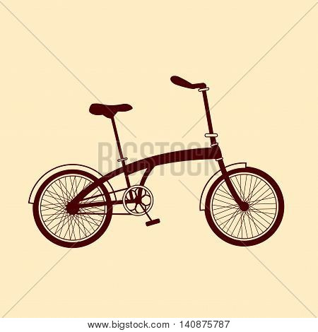Brown foldable bicycle illustration on yellow background