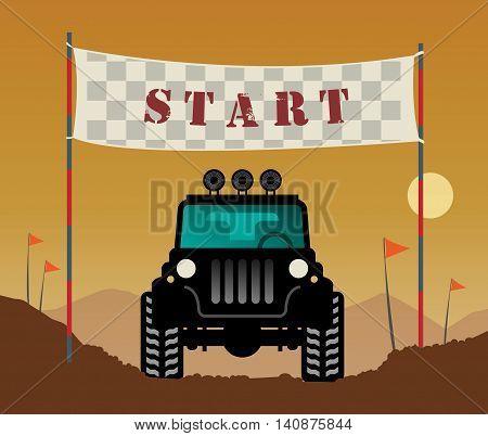 Off-road race start line background, vector illustration
