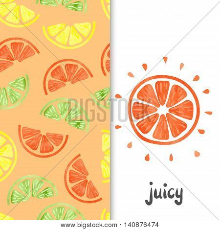 Watercolor citrus seamless pattern. Orange fruit slice isolated on white. Vector background with citrus slices.