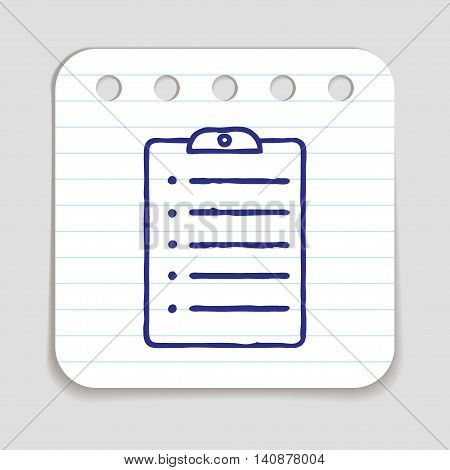 Doodle clipboard icon. Blue pen hand drawn infographic symbol on a notepaper piece. Line art style graphic design element. Web button with shadow. To do list, exam papers, fill in form concept.