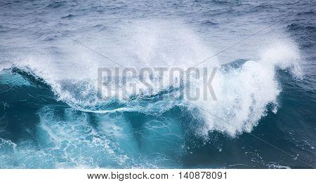powerful foamy ocean waves breaking natural water background