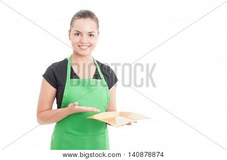 Attractive Female Employee Showing Empty Dish