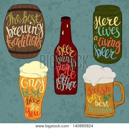 Wood barrel or keg with beer and aluminium or steel beverage can, glass bottle with condensated liquid drops and pint glassware. Lettering with detailed font on stein or mug, jug with light and dark beer, cask ale and lager. Bar and restaurant use