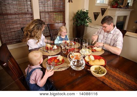 Family having dinner together