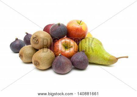 Ripe juicy fruits isolated on white background. horizontal photo.