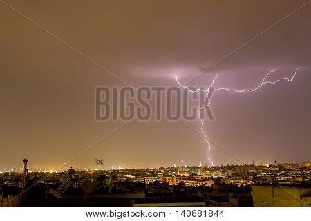 Lightning Storm Strikes The City Of Thessaloniki, Greece