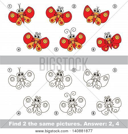 The design difference. Vector visual game for children. Task and answer. Find two similar Butterflies.