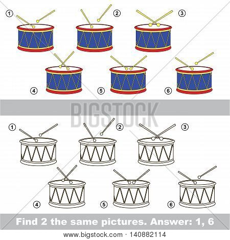 The design difference. Vector visual game for children. Task and answer. Find two similar Drums.