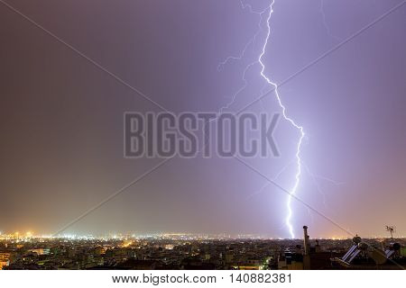 Lightning Storm Strikes The City Of Thessaloniki, Greece